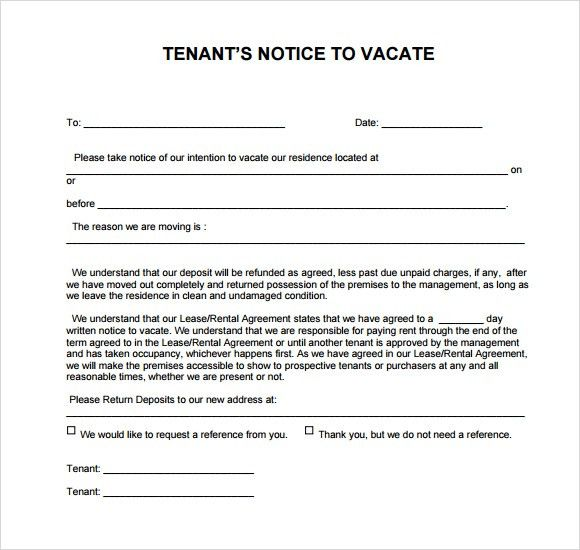 Notice To Vacate Template. 30 Day Notice To Landlord Sample Sample ...
