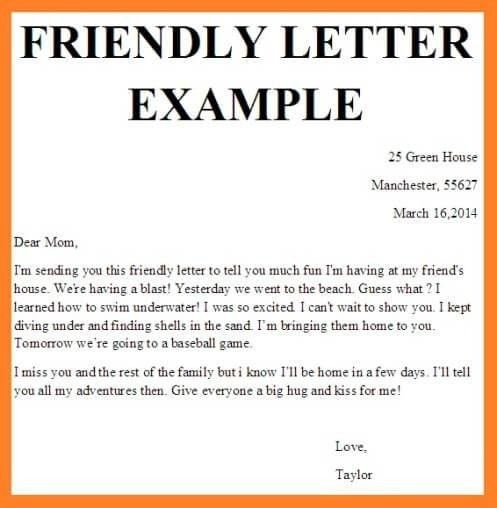 Examples Of Friendly Letters | The Best Letter Sample