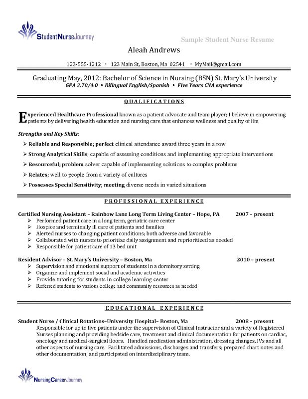 Resume For Nursing Student 1 Example Student Nurse Resume - Free ...