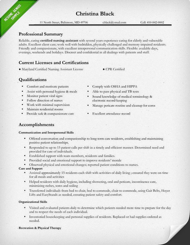 Certified Nursing Assistant Resume Sample | self improvement ...