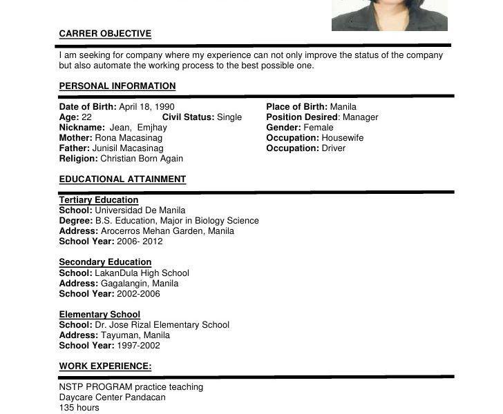 Download It Sample Resume Format | haadyaooverbayresort.com