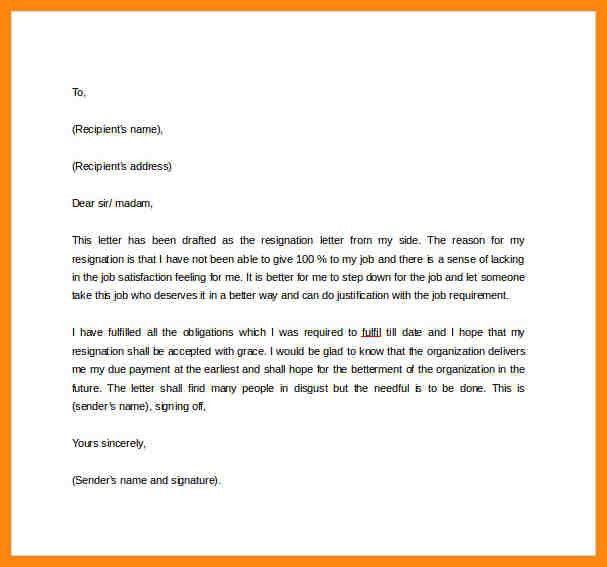 Formal Resignation Letter Sample. Formal Two Week Resignation ...