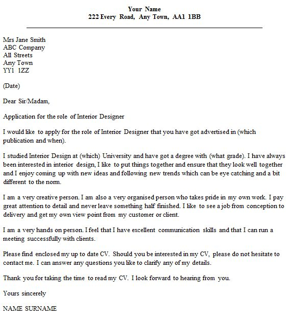 Interior Designer Cover Letter Example - icover.org.uk
