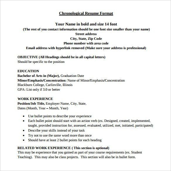 Examples of chronological resume