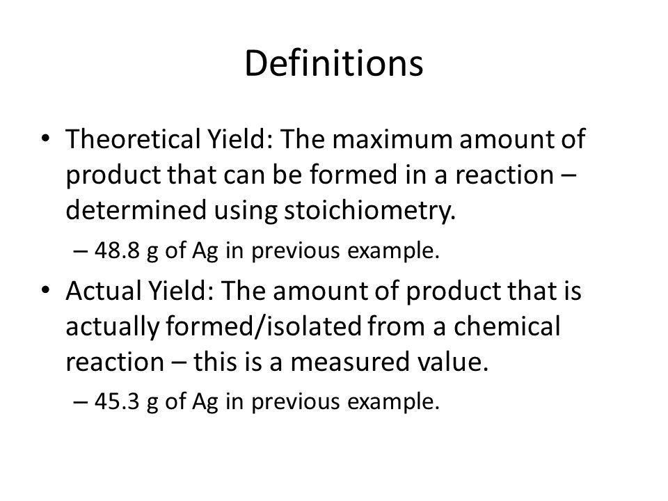Percent Yield and Stoichiometry. Stoichiometry In the reaction ...