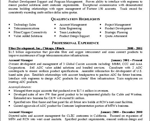 sales resume example
