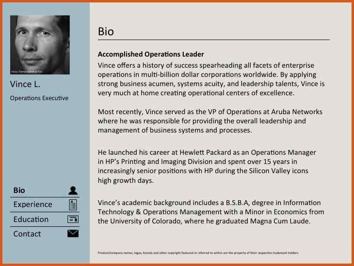 professional bio sample | general resumes