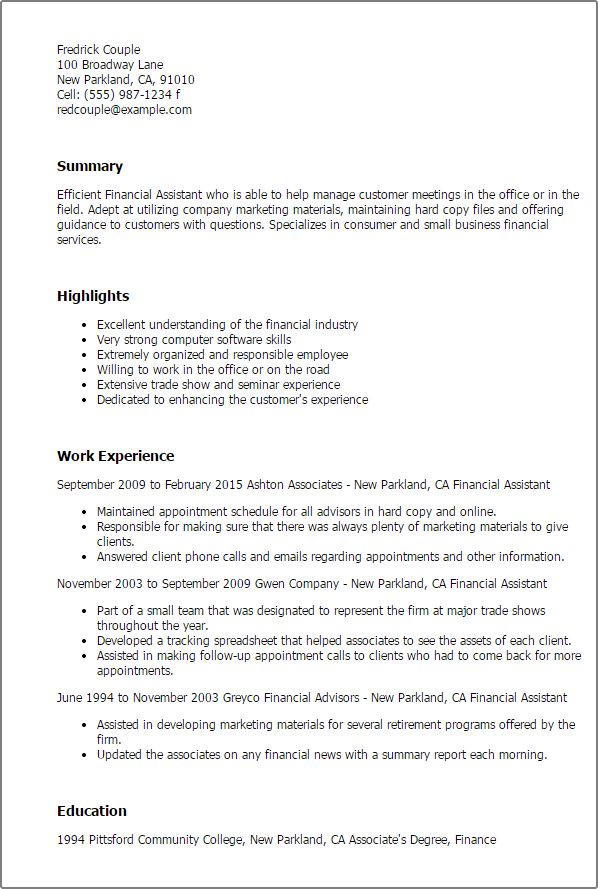Professional Financial Assistant Templates to Showcase Your Talent ...