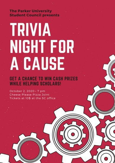 Red, White and Black Gears Trivia Night Poster - Templates by Canva