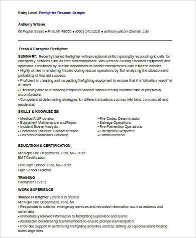 Sample Firefighter Resume - 8+ Examples in Word, PDF