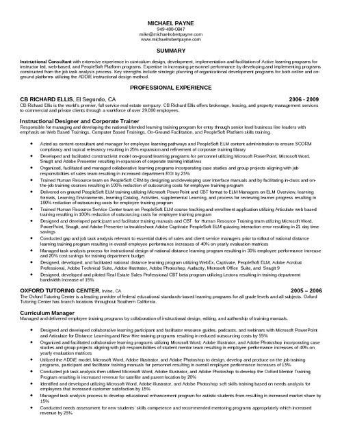 instructional designer resume sample instructional designer