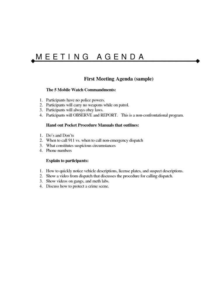 Simple Meeting Agenda Template (3) | Professional Templates