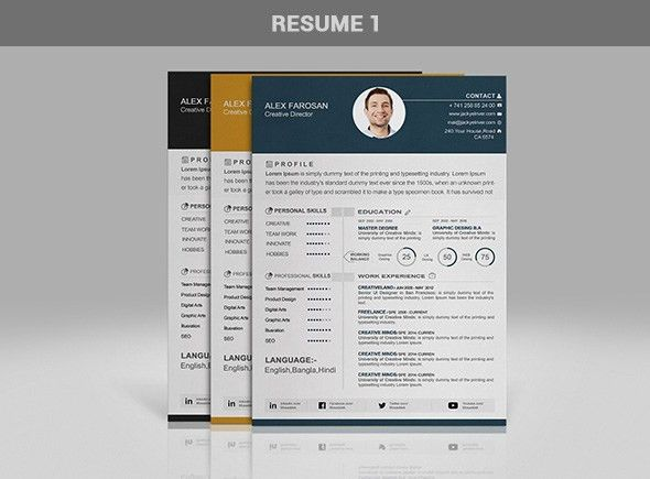 Free Professional Resume (CV) Template In 3 Different Color With ...