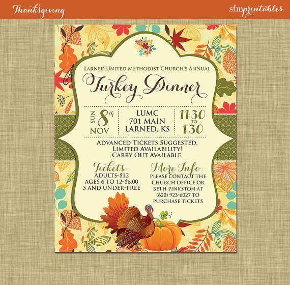 Fall #Turkey #Dinner #Harvest #Thanksgiving #Invitation #Poster ...