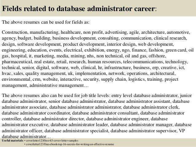 Top 5 database administrator cover letter samples