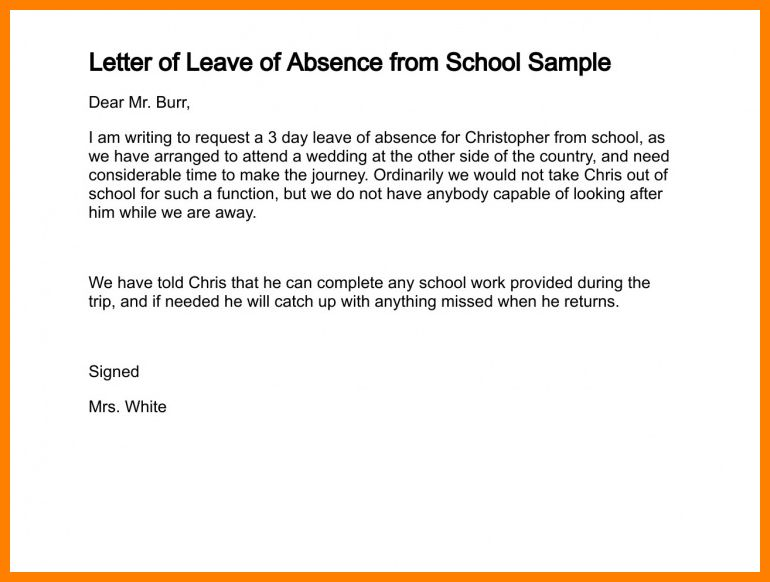 Leave Of Absence Template Leave Of Absence Letter Sample Formal – Request for Leave Template