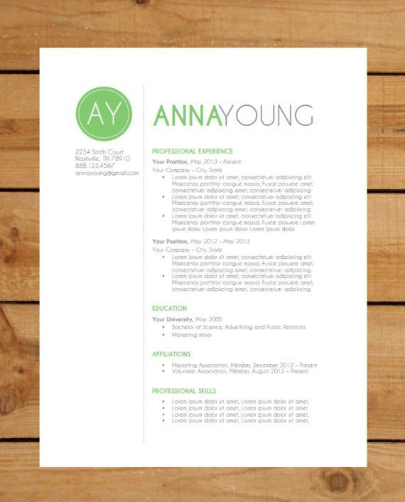 Resume Template | Instant Word Document Download | Modern Resume ...
