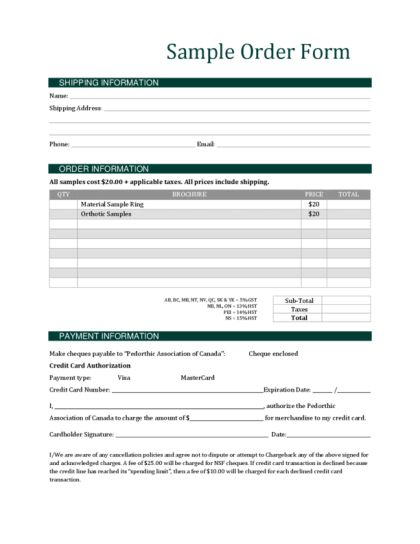 Order Form Template | LegalForms.org