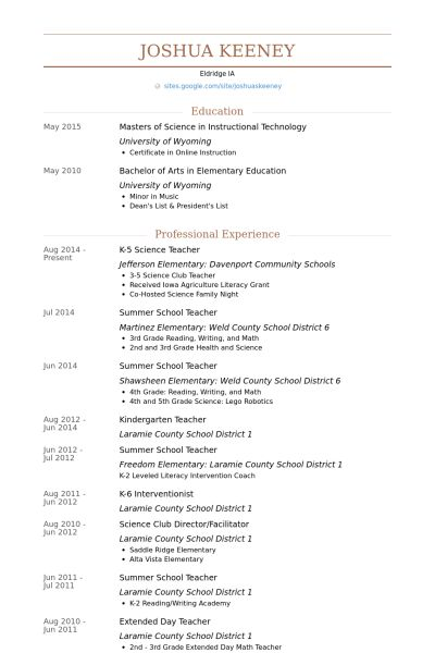 science teacher resume samples visualcv resume samples database - Teacher Resumes Samples