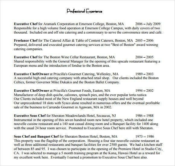 Chef Resume - 8+ Free Samples, Examples, Format