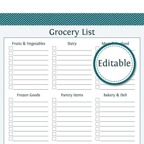 Grocery Shopping List with Categories Fillable Printable