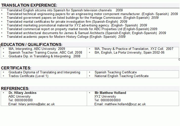 Interpreter / Translator CV Sample