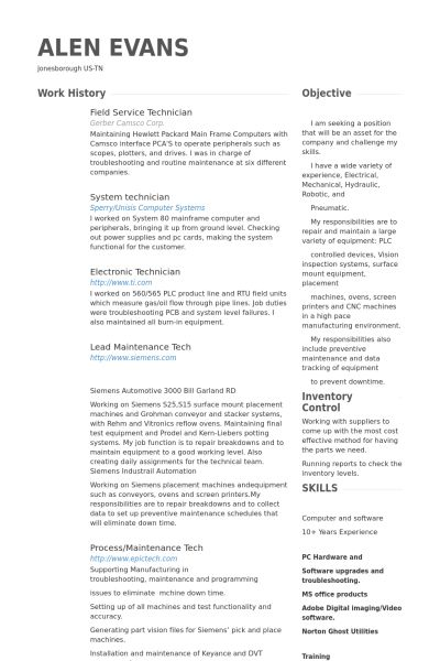 Service Technician Resume samples - VisualCV resume samples database