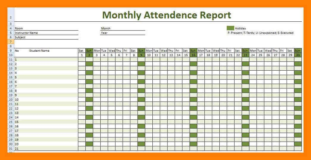 6+ monthly attendance sheet for employees | pattern resume