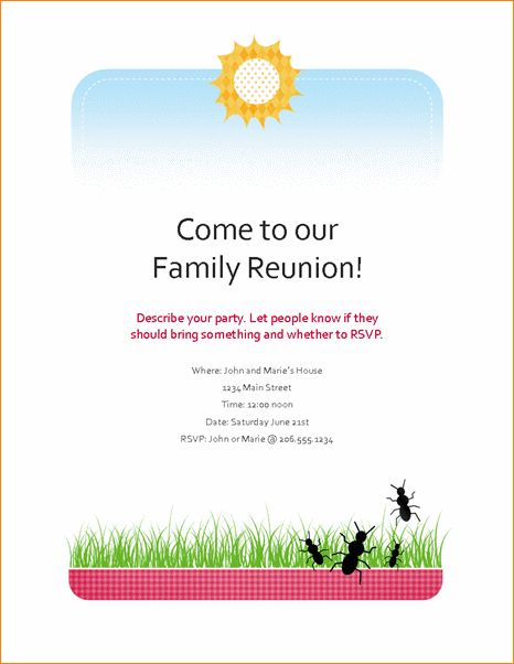 7+ family reunion templates | Outline Templates