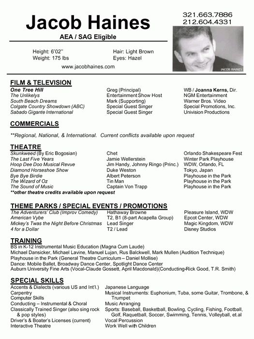 example of resume format for artist pdf download standard resume ...