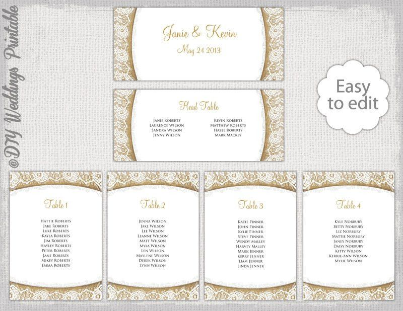 Rustic Seating chart template Burlap & Lace