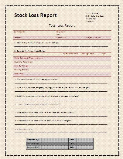 Stock Loss Report Template | Download It Free