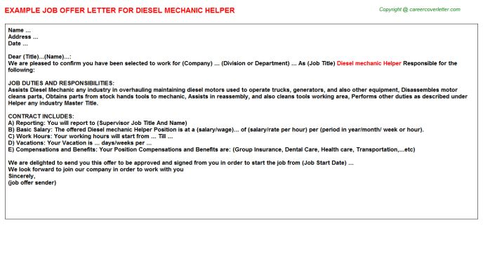Diesel Mechanic Helper Job Title Docs