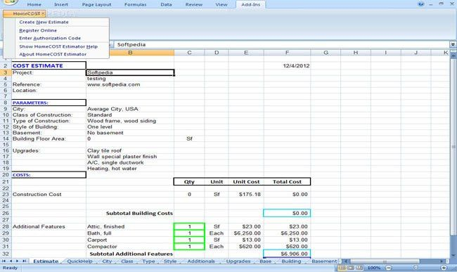 Review and Download HomeCOST Estimator Excel Based Construction ...