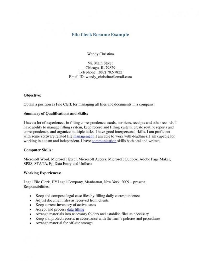 File Clerk Cover Letter [Template.billybullock.us ]