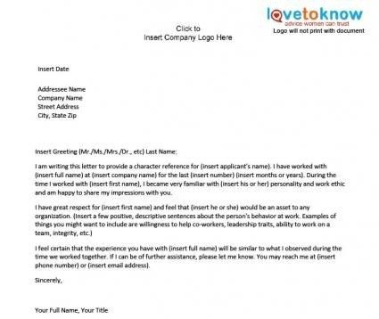 Sample Character Reference Letter | Template Design