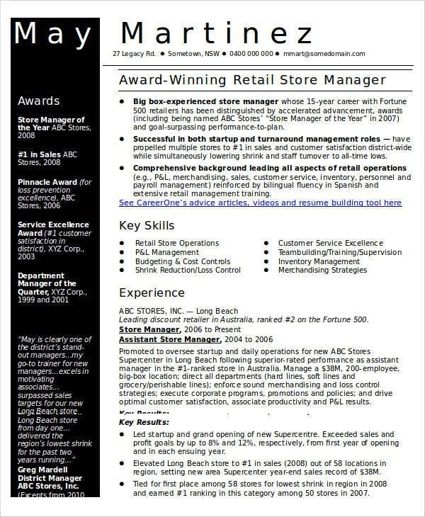 retail store manager resume unforgettable store manager resume