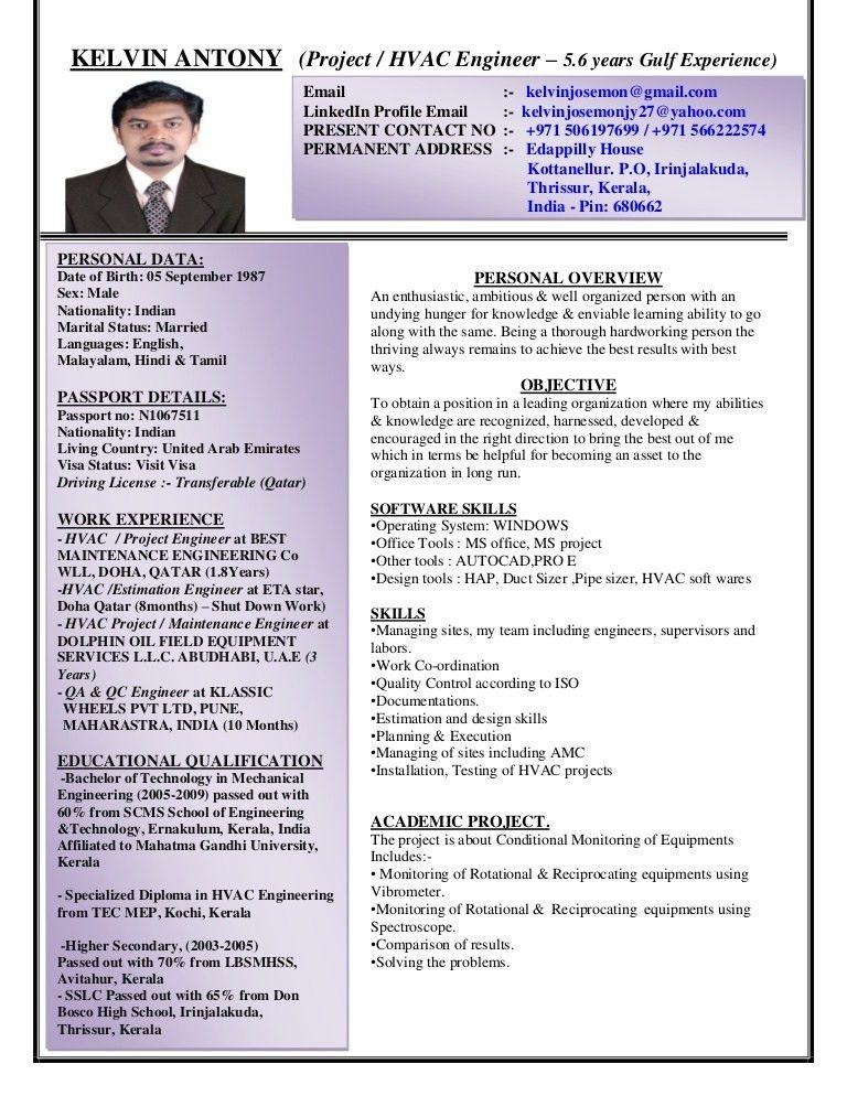 Download Hvac Engineer Sample Resume | haadyaooverbayresort.com