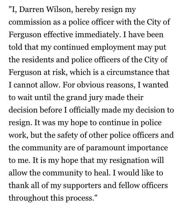 BREAKING: Ferguson Officer Darren Wilson Resigns from Police Force ...