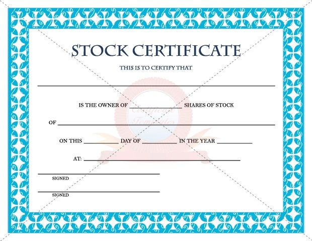 Stock Certificate Template | cyberuse