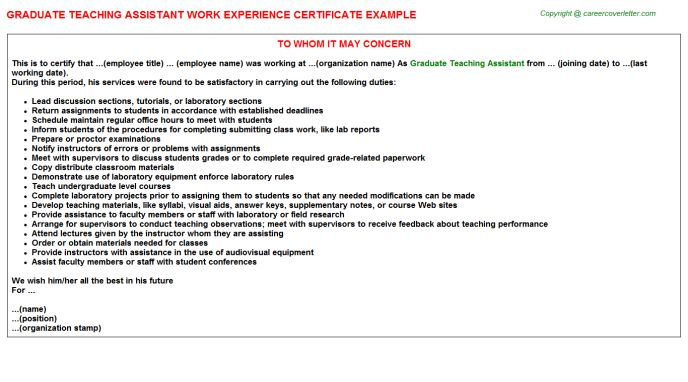 Graduate Teaching Assistant Work Experience Letters