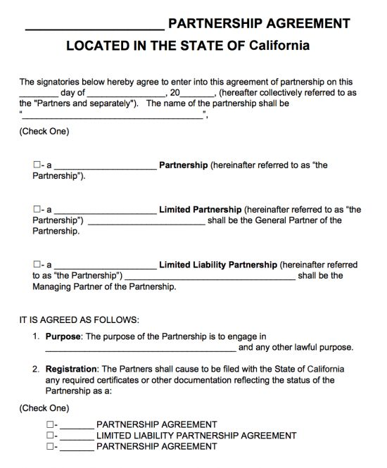 Free California Partnership Agreement Template | PDF | Word |