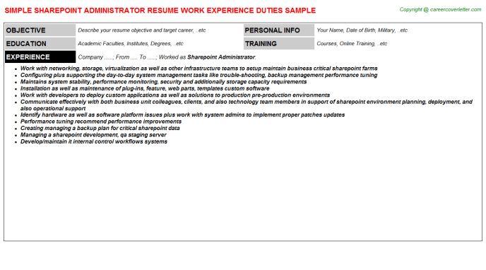 Sharepoint Administrator Resume Sample