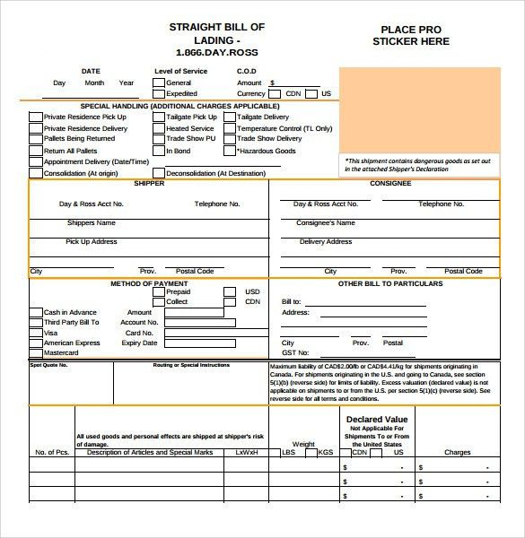 Sample Bill of Lading - 5+ Documents in PDF