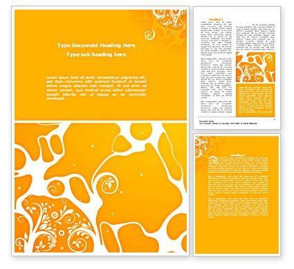 Yellow Design Background Word Template 08374   PoweredTemplate.com