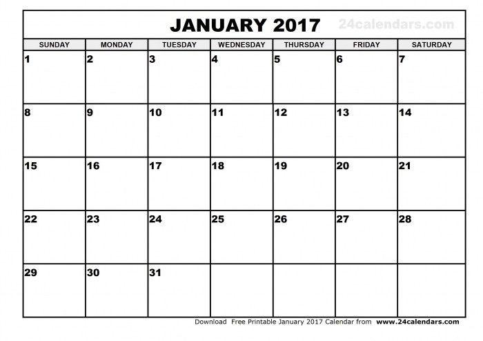 January 2017 Calendar Templates