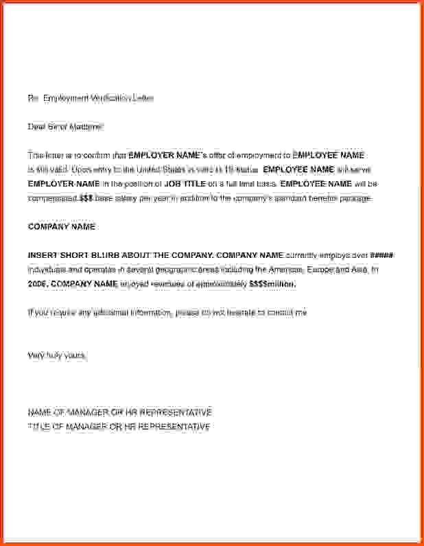 Verification Of Employment Letter.letter Of Verification Of ...