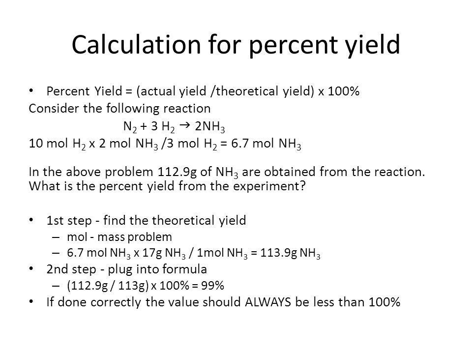 Limiting Reactants and Percent Yields - ppt download