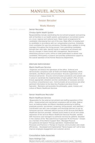 Senior Recruiter Resume samples - VisualCV resume samples database