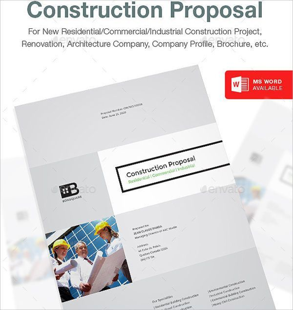 Construction Proposal Template - 8+ Free Word, PDF, PSD Format ...